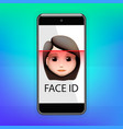 facial recognition concept face id face vector image vector image