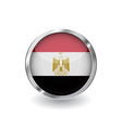 flag of egypt button with metal frame and shadow vector image vector image