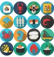 Flat round icons for seafood vector image