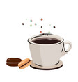 flying macarons and black coffee vector image