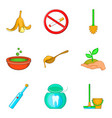 garbage recycling icons set cartoon style vector image