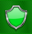 green shield sign accept 3d symbol on green vector image vector image