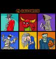 halloween holiday cartoon funny characters set vector image vector image