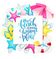 hand lettering summer phrase on paper sheet vector image