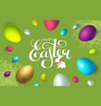 happy easter background with realistic colorful 3d vector image vector image