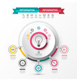 infographic sata flow chart with bulb icon in vector image vector image