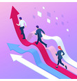 isometric business people running towards the vector image vector image