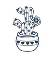 linear style icon of a potted fcactus vector image vector image