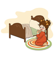 little girl is preparing for sleep vector image vector image