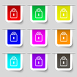 Lock icon sign Set of multicolored modern labels vector image
