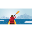 Man Kayaking Arctic Background vector image