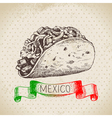 Mexican traditional food background with tacos vector image vector image