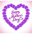 mother Day Heart Made of violet Roses bouquet of vector image vector image