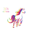 multicolor chinese new year horse 2014 isolated vector image vector image
