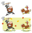 pilgrim man chasing with axe a turkey vector image vector image