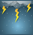 rain with thunderbolt paper art style vector image vector image