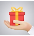 Realistic Hand Holding Cristmas Winter New Year vector image