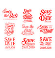 save date lettering for wedding invitation vector image vector image