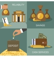 set of banking concepts in flat style vector image vector image