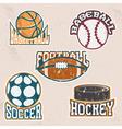 Set of grunge vintage sport labels and elements