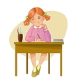 Small girl during her studying sitting at the desk vector image