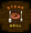 steak grill neon colorful sign vector image vector image