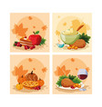 turkey dinner of thanksgiving day with set icons vector image