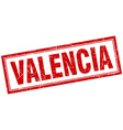 Valencia red square grunge stamp on white vector image vector image