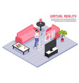 virtual reality isometric poster vector image vector image