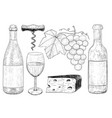 wine set botlle of wine glass grapes cheese vector image