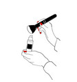 women s hand with makeup foundation cream tube and vector image vector image