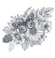 wreath with hand drawn flowers leaves vector image vector image