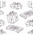 Hand drawn gift box outline seamless pattern in vector image