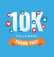 10k followers social sites post greeting card vector image vector image