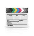 3d realistic blank closed movie film clap vector image vector image