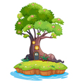 A giant tree in an island vector image vector image