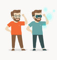 a mans uses virtual reality glasses vector image