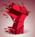 Abstract low poly wrecked red number 7 with black vector image vector image
