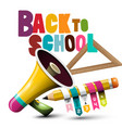 back to school design with megaphone and pencil vector image vector image