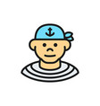 boatswain sailor pirate flat color line icon vector image