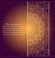 card with glow mandala brown invitation card vector image vector image
