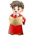 Cartoon boy singing christm