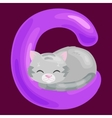 cat letter with animal for kids abc education in vector image vector image