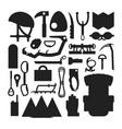 climbing trekking equipment silhouette set vector image vector image