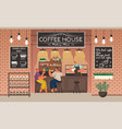 couple drinking coffee counter and barista vector image vector image