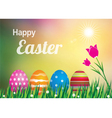 Easter eggs and tulip on meadow vector image vector image