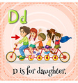 Flashcard letter D is for daughter vector image vector image