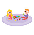 flat boy and girl lying at carpet vector image