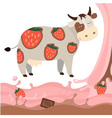 Fruit strawberry chocolate milk cow milk splash vector image vector image