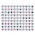 Great set 99 pink blue emotion isolated on white vector image vector image